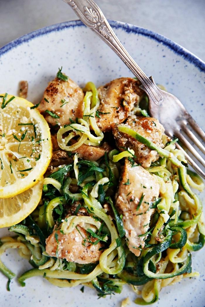 recette spaghettis de courgettes au poulet citron et parmesan, recette facile et rapide pour le soir