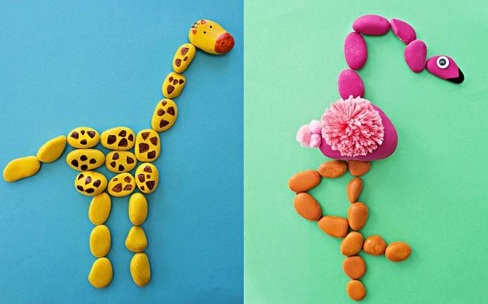 activité manuelle facile et rapide avec des cailloux peints, réaliser des animaux en galets, girafe et flamant rose réalisés en galets