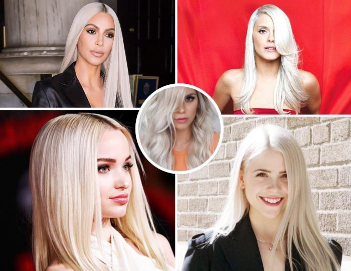 exemples de coloration patine blond parmi les célébrités, Kim Kardashian aux cheveux longs blancs avec racines noires