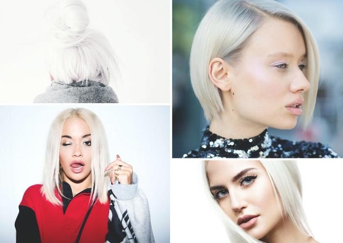 technique de coloration 2019, patine cheveux blond sur brunette, exemple de cheveux blond polaire avec sourcils foncés