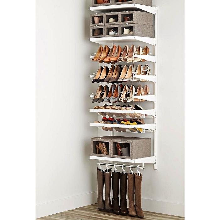 porte-chaussures mural avec plusieurs types de rangements, meuble de rangement mural pour chaussures plates et pour talons