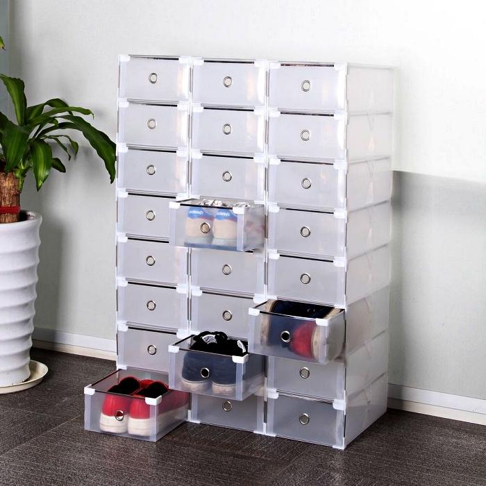 organisateur de chaussures modulable, rangement chaussure avec lot de boîtes à tiroirs, meule de rangement pour chaussures fonctionnel