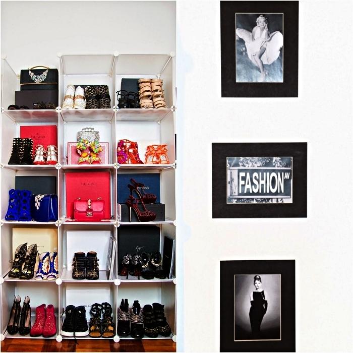 idée de dressing fait maison qui abrite nos chaussures et accessoires, rangement à chaussures et accessoires modulable