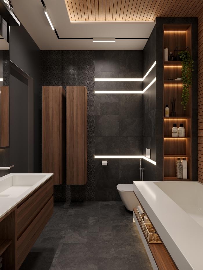 design intérieur contemporain aux couleurs foncés et accents bois, modèle de salle de bain grise anthracite avec meuble bois foncé