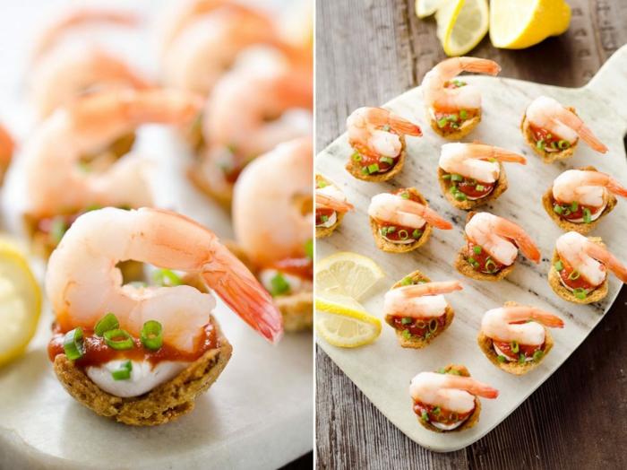 recette apéro dinatoire, crevettes et fromage à la crème, bouchées salées apétissantes