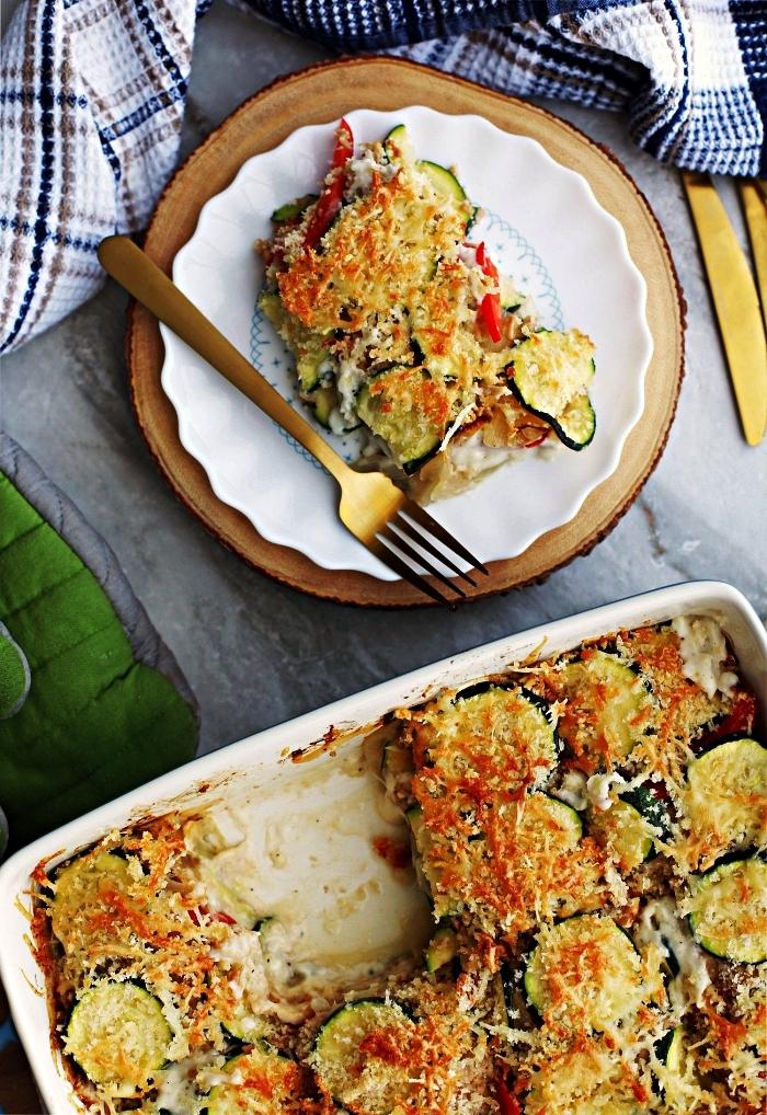 recette gratin de courgette et tomates à la chapelure et au fromage gruyère, recette plat gratin pour l'été