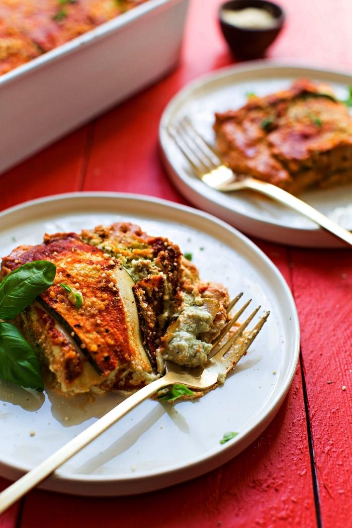 recette vegan et sans gluten de lasagne aux courgette, à la ricotta et béchamel aux noix de cajou, recette avec courgette pour lasagne végétarienne