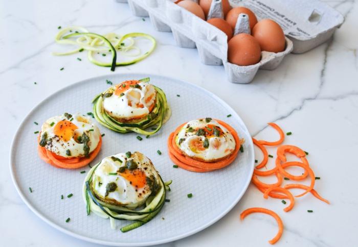 nid de carottes et concombres au fromage et aux caperses, recette apéro dinatoire facile