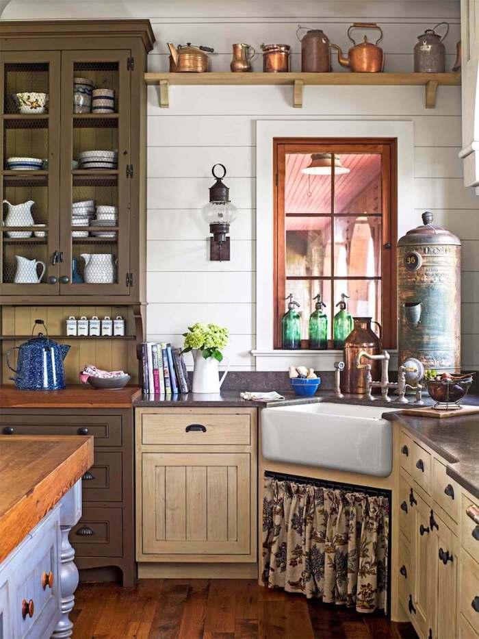 Aménagement petit espace, petite cuisine en bois style vintage, idée comment décorer la cuisine