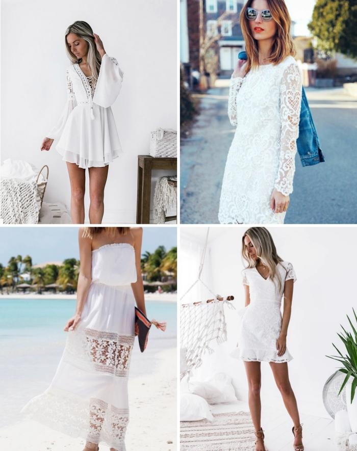 exemple de robe dentelle boheme, mode femme de style bohème chic, idée robe courte droite aux manches longues