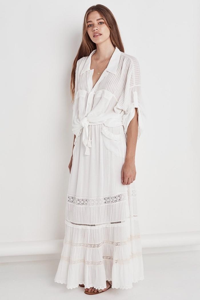quelle couleur vêtement pour été, modèle de robe longue top chemise nouée avec jupe longue et fluide à broderie