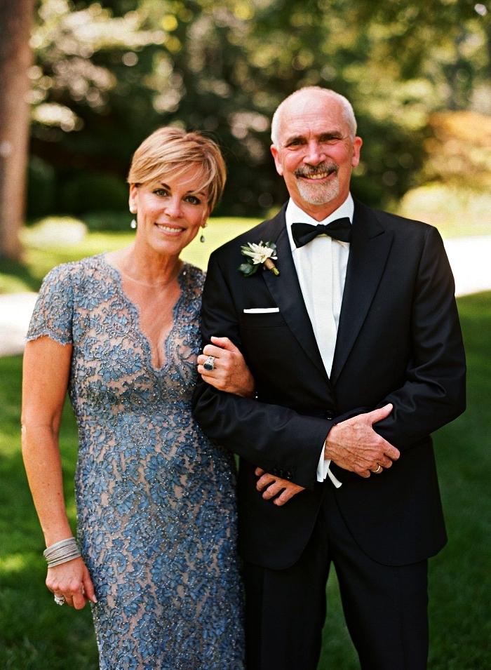 robe de cérémonie chic en dentelle bleu doublée nude avec petites manches, robe habillée pour mariage formel