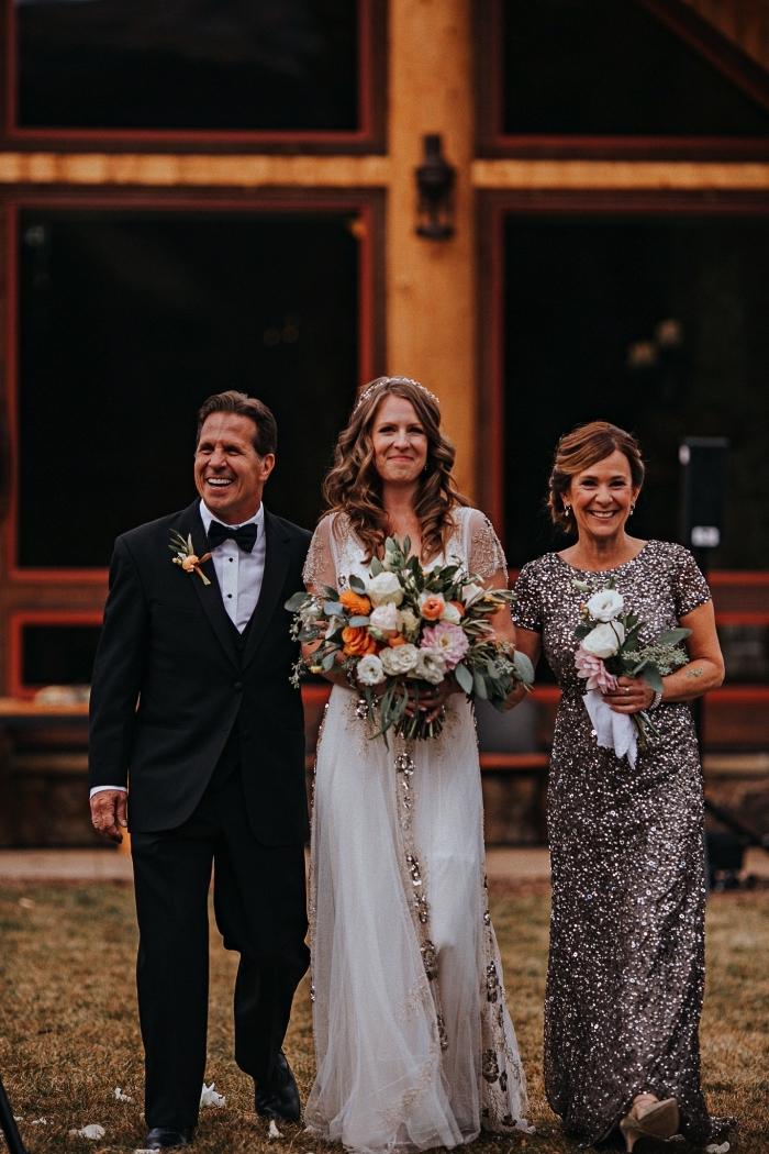 robe mere de la mariee haute couture à sequins avec manches courtes, robe de cérémonie pour femme de 50 ans