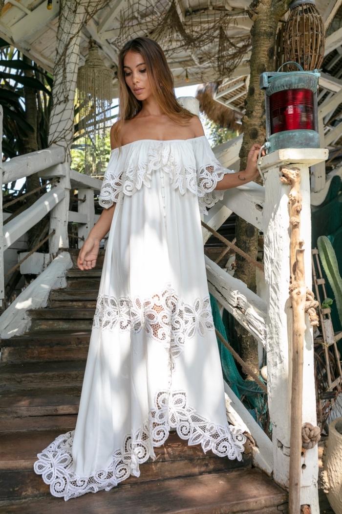 comment bien s'habiller, robe dentelle blanche florale, modèle de robe longue aux manches courtes tombantes