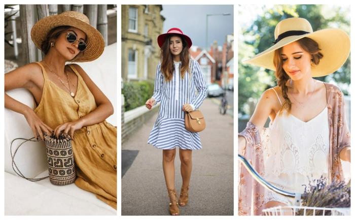sac panier, robe couleur ocre, robe rayée, chapeau femme rouge, grande capeline femme, vélo et bouquet de lavande