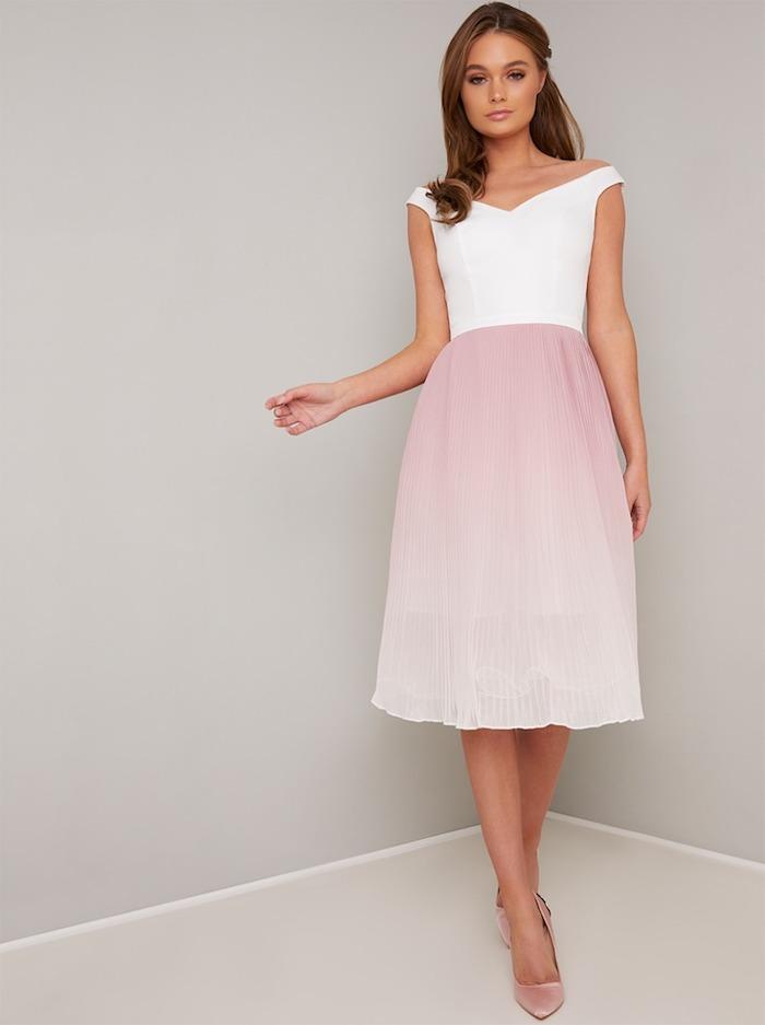 Choix de robe de soirée cérémonie courte rose et blanche, robe de cocktail pour mariage chic
