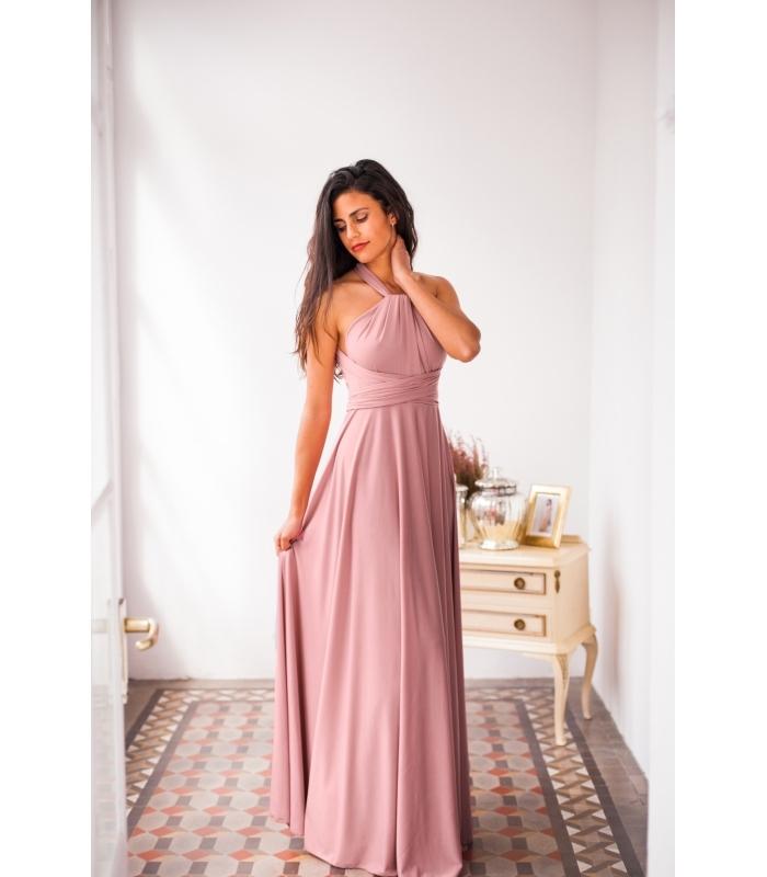 Longue robe rose pale, tenue pour assister à un mariage, robe bohème chic mariage moderne