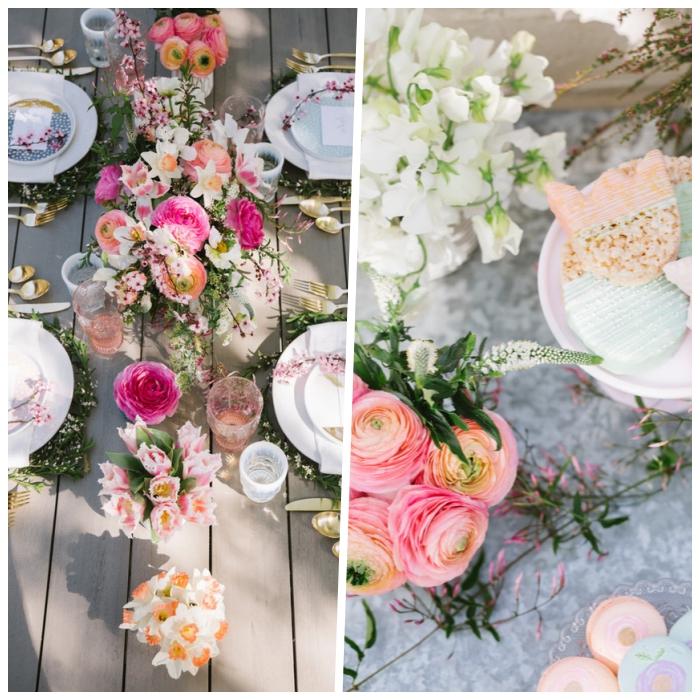 deco de table anniversaire, chemin de table en vases avec des fleurs, assiettes arrangées, déco fête champêtre