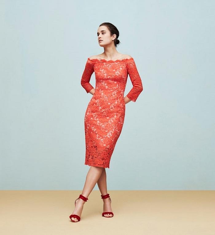 Dentelle robe rouge, robe tailleur, robe de cocktail pour mariage chic, femme tenue élégante