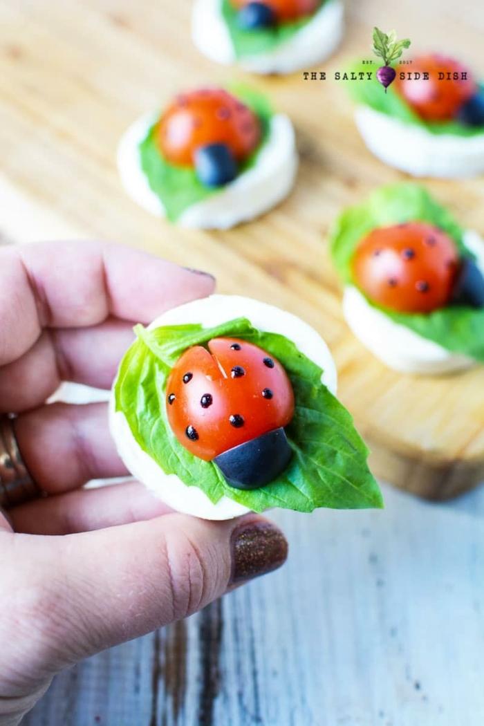 salade caprese en bouchées, fromage, tomates cerises, olives, canapés, apéritifs dinatoires
