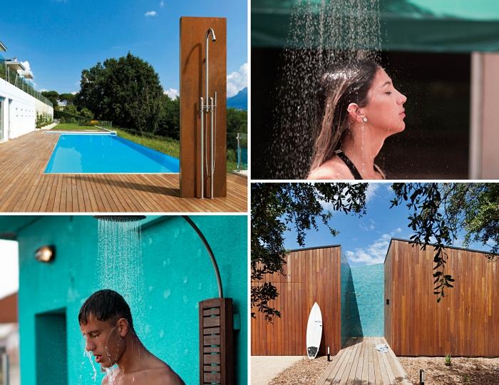 comment installer une douche extérieure dans le jardin, aménagement de terrasse en bois avec piscine et douche