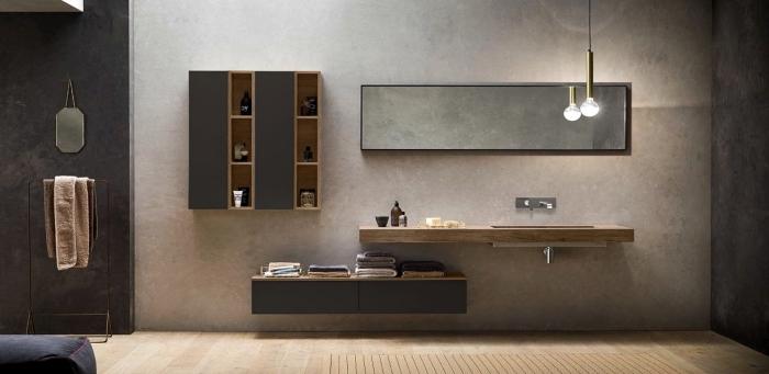 quelles couleurs combiner avec le gris anthracite dans la déco, meuble salle de bain bois foncé avec portes gris anthracite