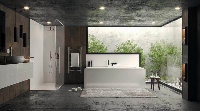 comment décorer une salle de bain moderne, idée revêtement plafond salle de bain avec dalles à effet béton gris anthracite, meuble salle de bain bois