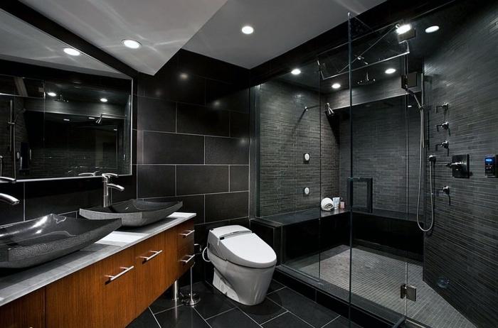 décoration salle de bain noire avec meuble vasque en bois marron, design intérieur moderne salle de bain foncée