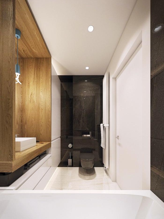 modèle de salle de bain tendance, décoration salle de bain aux murs blancs avec pan de mur en noir et espace lavabo en bois