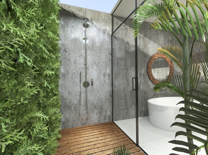 design extérieur de style industriel aux murs béton et carrelage blanc, décoration salle de bain extérieure avec terrasse en bois