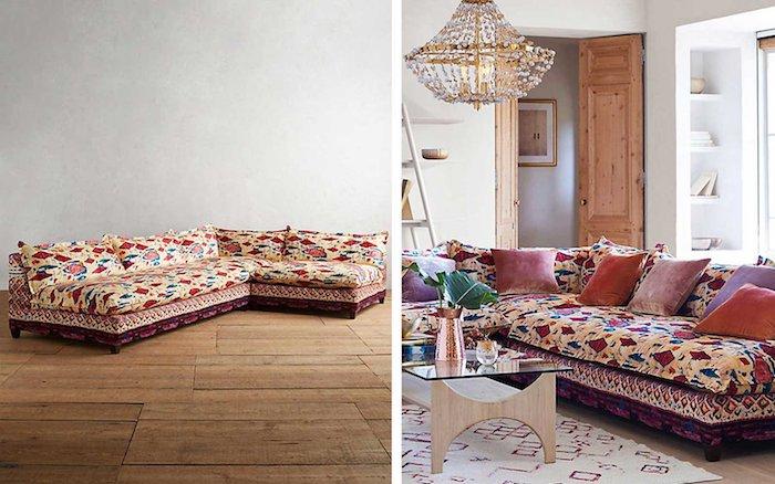 Idée déco salon moderne, canapé marocain en angle, deco ethnique chic, deco boheme moderne au style marocain