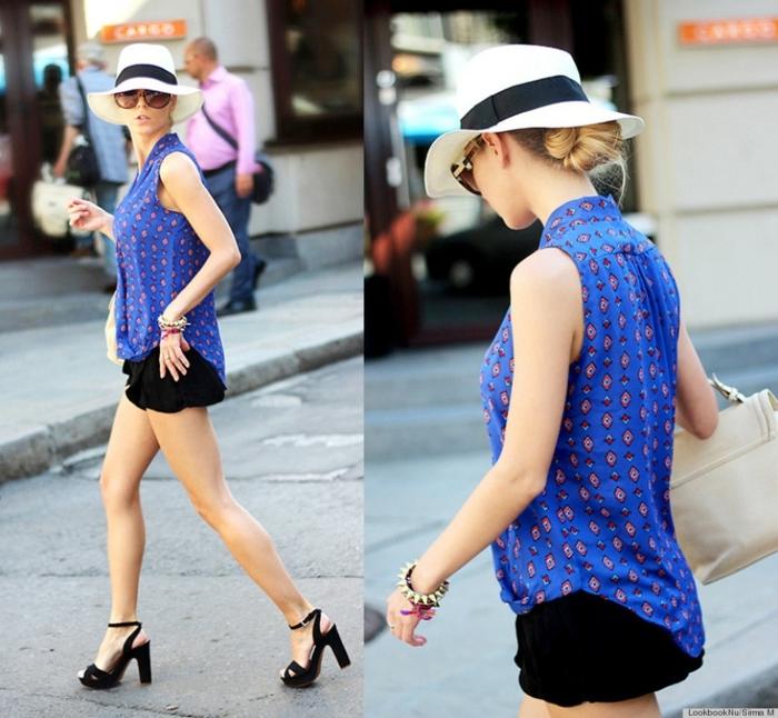 chemise bleue, chapeau panama femme, short noir, sandales noires, sac à main écru, chapeau été femme