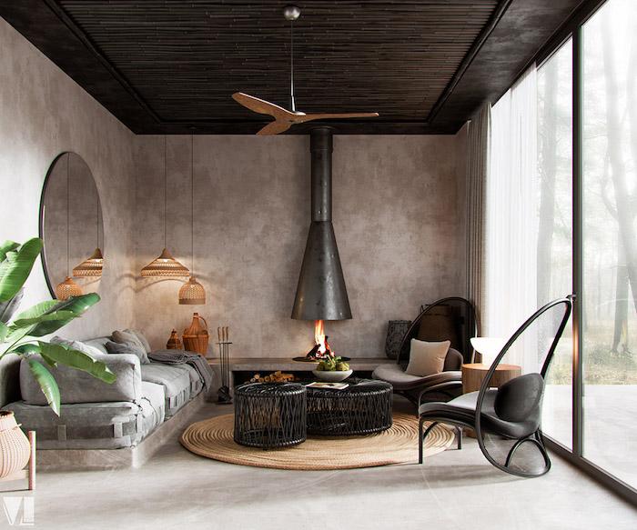 Salon moderne avec détails déco berbère, chambre boheme moderne, deco boheme chic appartement moderne