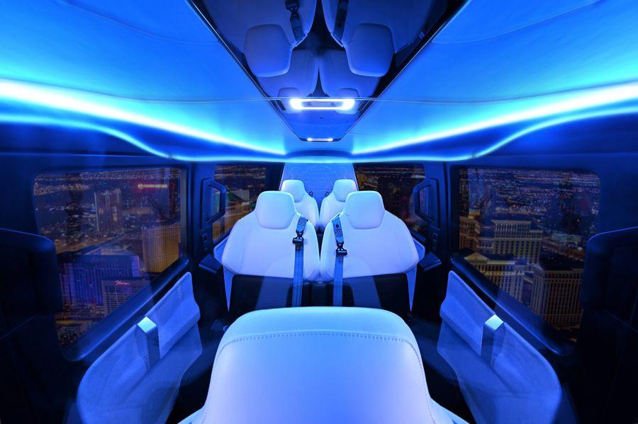 image de la cabine du prototype de taxi volant Uber Air développé avec la société française Safran Cabin
