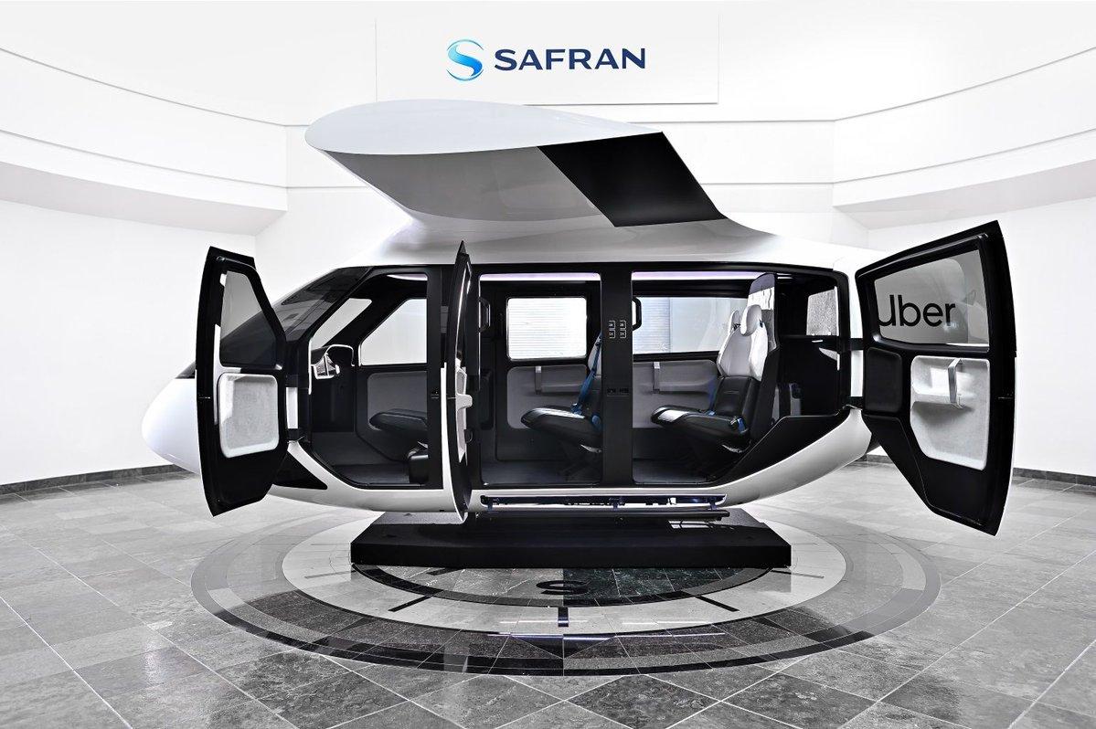 prototype de cabine conçu par Safran Cabin pour le projet de Taxi Volant de Uber Air