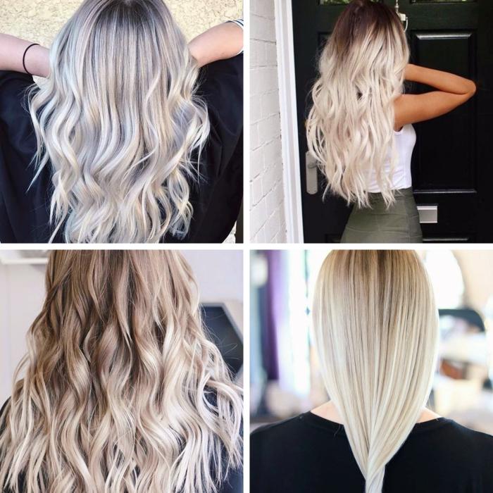 cheveux longs de base châtain foncé avec mèches balayage blond polaire, coiffure cheveux longs avec boucles
