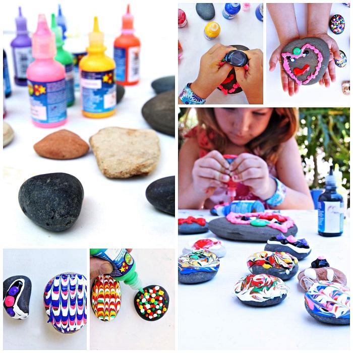technique facile pour peindre des galets décoratifs avec de la peinture gonflante, des galets décorés avec de la peinture gonflante à motifs abstraits
