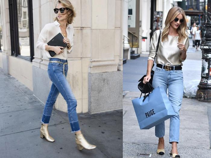 Tenue chic femme, tendance été 2019, vêtements chic chemise blanche, jean et accessoires dorés