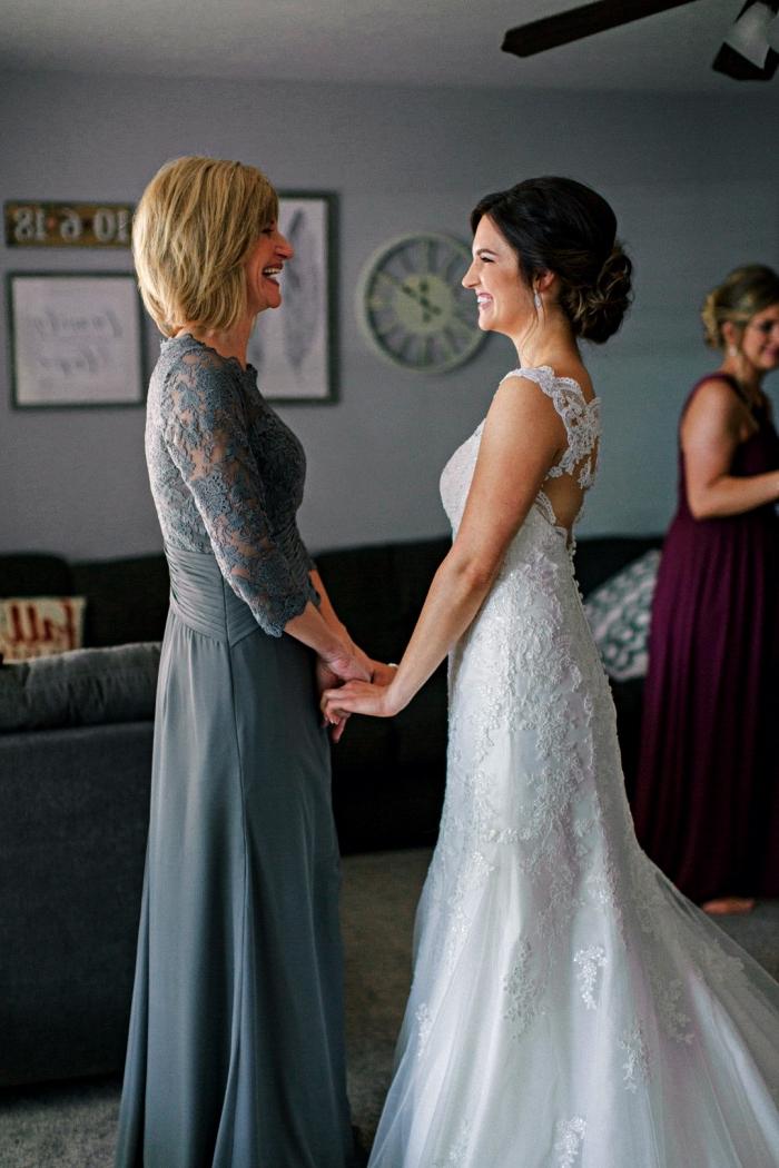 robe de soirée pour mariage formel, robe mère de la mariée grise à coupe trapèze avec haut en dentelle