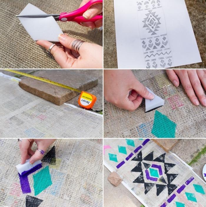 les étapes pour faire un chemin de table en tissu à lin, application de motifs géométriques sur le chemin de table