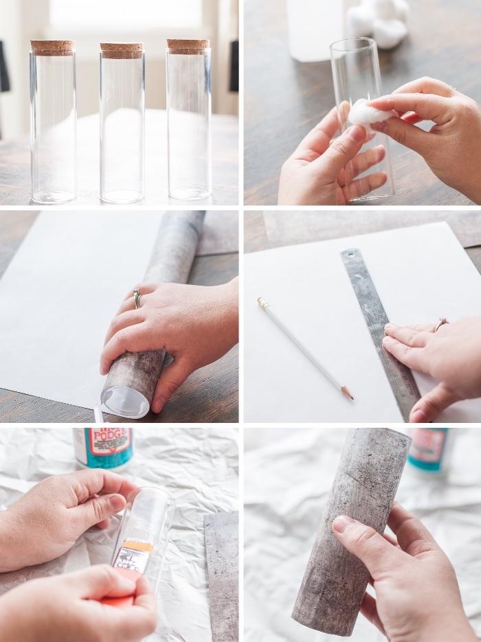 fabriquer soi-même un centre de table avec vases cylindriques, papier peint effet béton, fleurs