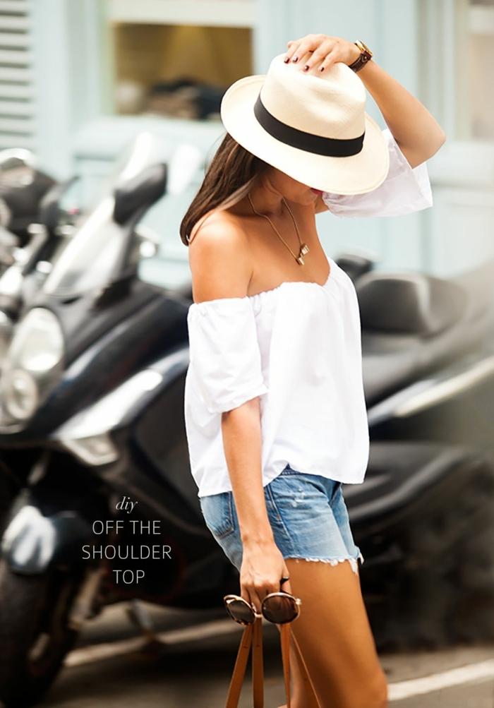 short denim, chapeau périphérie femme été, ruban noir, collier pendentif, chemise blanche