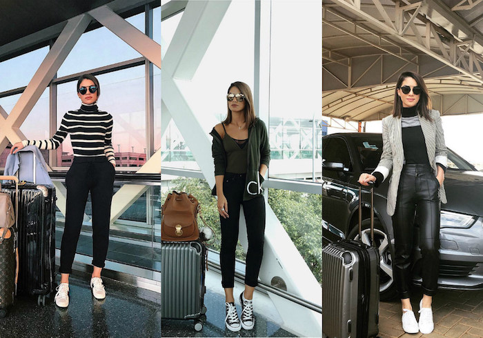 Tenue de voyage, comment s'habiller pour prendre l'avion, casual chic femme, image stylée, savoir comment s'habiller