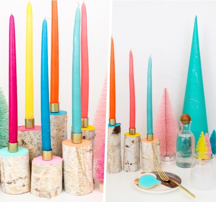 porte-bougies originaux, troncs de branche peints en couleurs pastel, bouchons peints en or, bougies