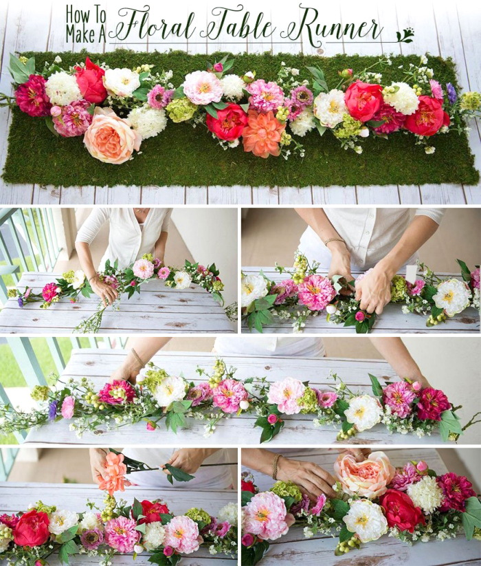idée déco table avec couronne de fleurs, pelouse verte artificielle, roses et dahlias en couleurs pastel assemblés en guirlande florale