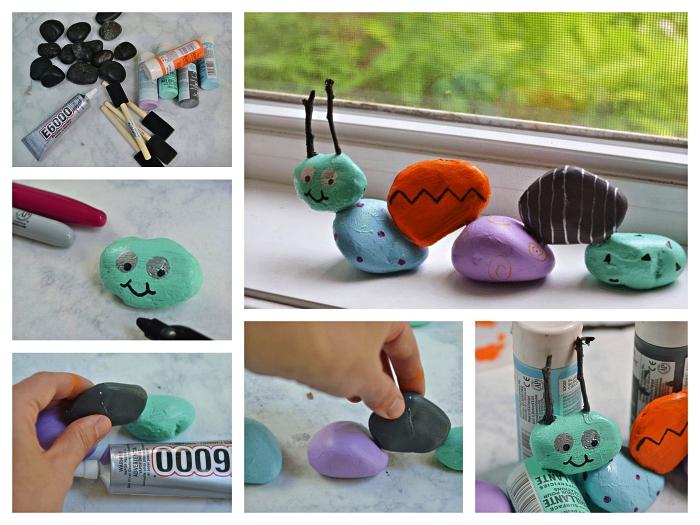 activité manuelle facile et rapide pour les tout petits, réaliser une chenille mignonne avec des cailloux peints et collés ensemble