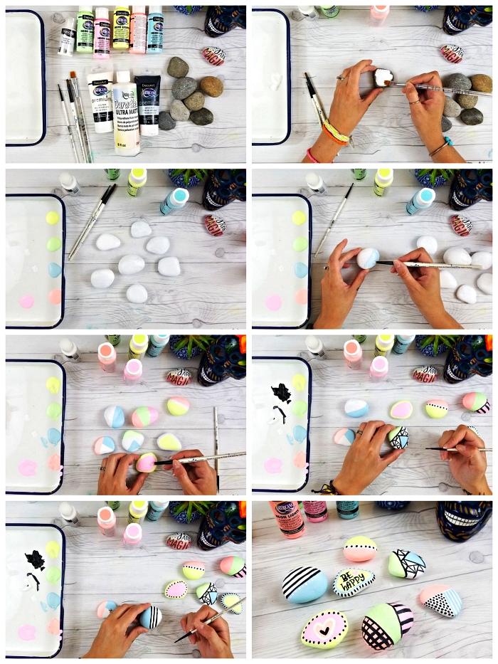 techniques pour peindre des galets, des galets décoratifs en tons pastels décoré de motifs graphiques, bricolage avec galets pour petits et grands