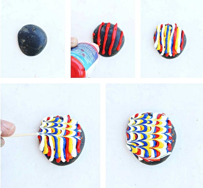 technique originale pour décorer des galets avec de la peinture gonflante, dessin sur galet abstrait avec de la peinture gonflante