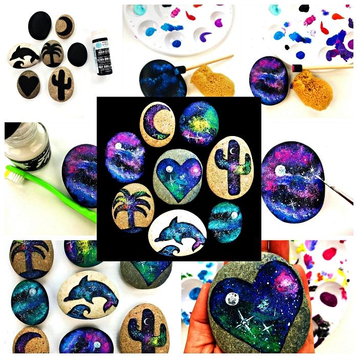 activité manuelle facile et rapide avec galets décoratifs, des galets décorés avec de la peinture évoquant les couleurs de la galaxie