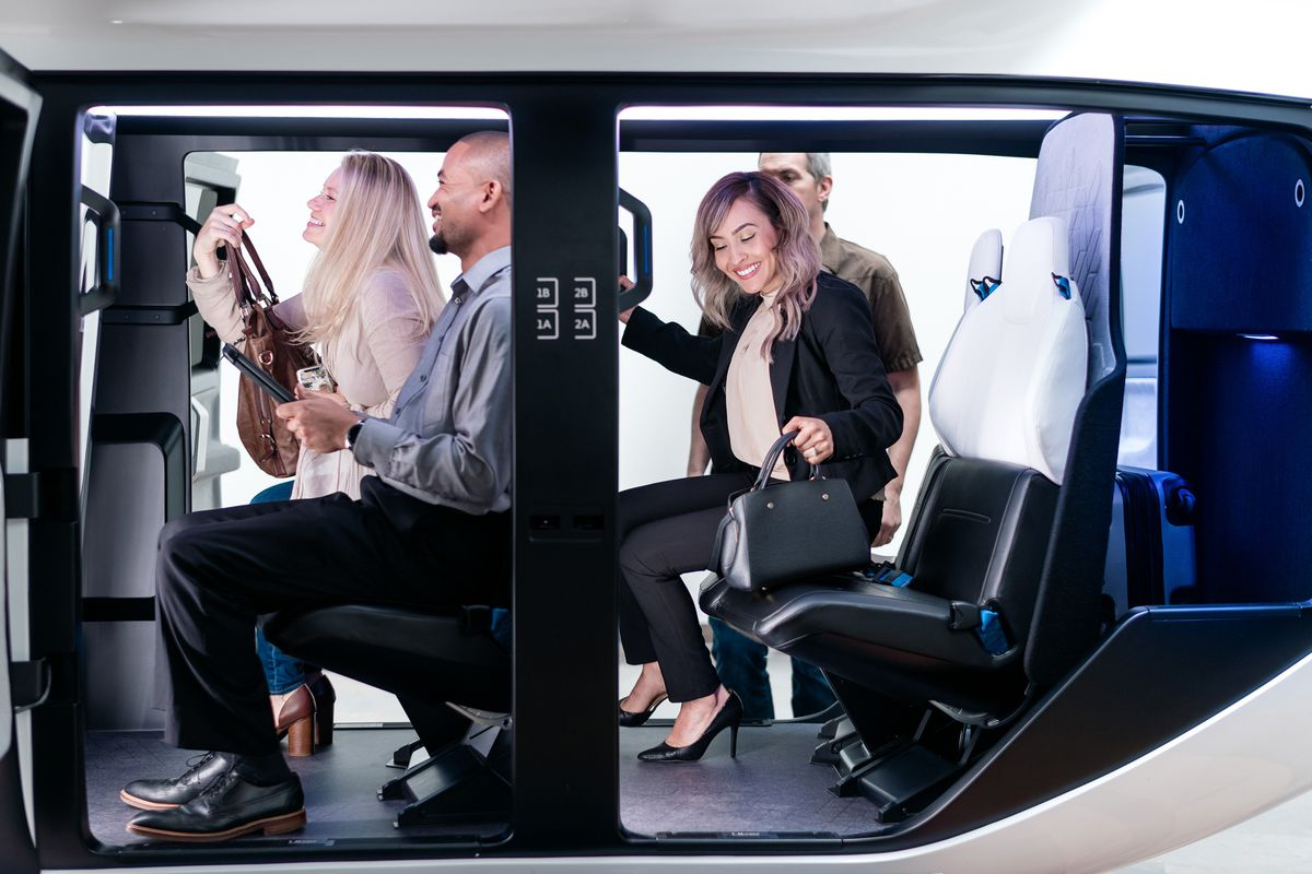 Image de la cabine du prototype de taxi volant de Uber Air développé avec Safran Cabin
